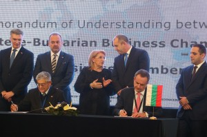 In the background: Carmelo Abela, Malta's Minister for Foreign Affairs and Trade Promotion, Christian Cardona, Minister for the Economy, Investment and the Small Business, Maltese President H.E. Marie-Louise Coleiro Preca, Bulgarian President Rumen Radev and Bulgarian Economy Minister Emil Karanikolov In the front: Joseph G. Grech, President of The Gozo Business Chamber, Borislav Boyanov, President of The Maltese-Bulgarian Business Chamber